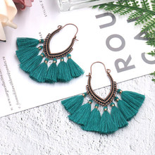 Ethnic Red Yellow Bohemian Tassel Earrings Female Statement Jewelry For Women Fashion Big Long Drop Dangle Fringe Earring