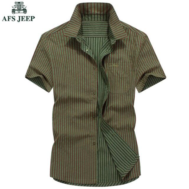 Homme camisa tarja afs jeep designer casual slim fit camisas Mens Plus Size M-5XL Roupas de Verão de Algodão de Manga Curta Para homens