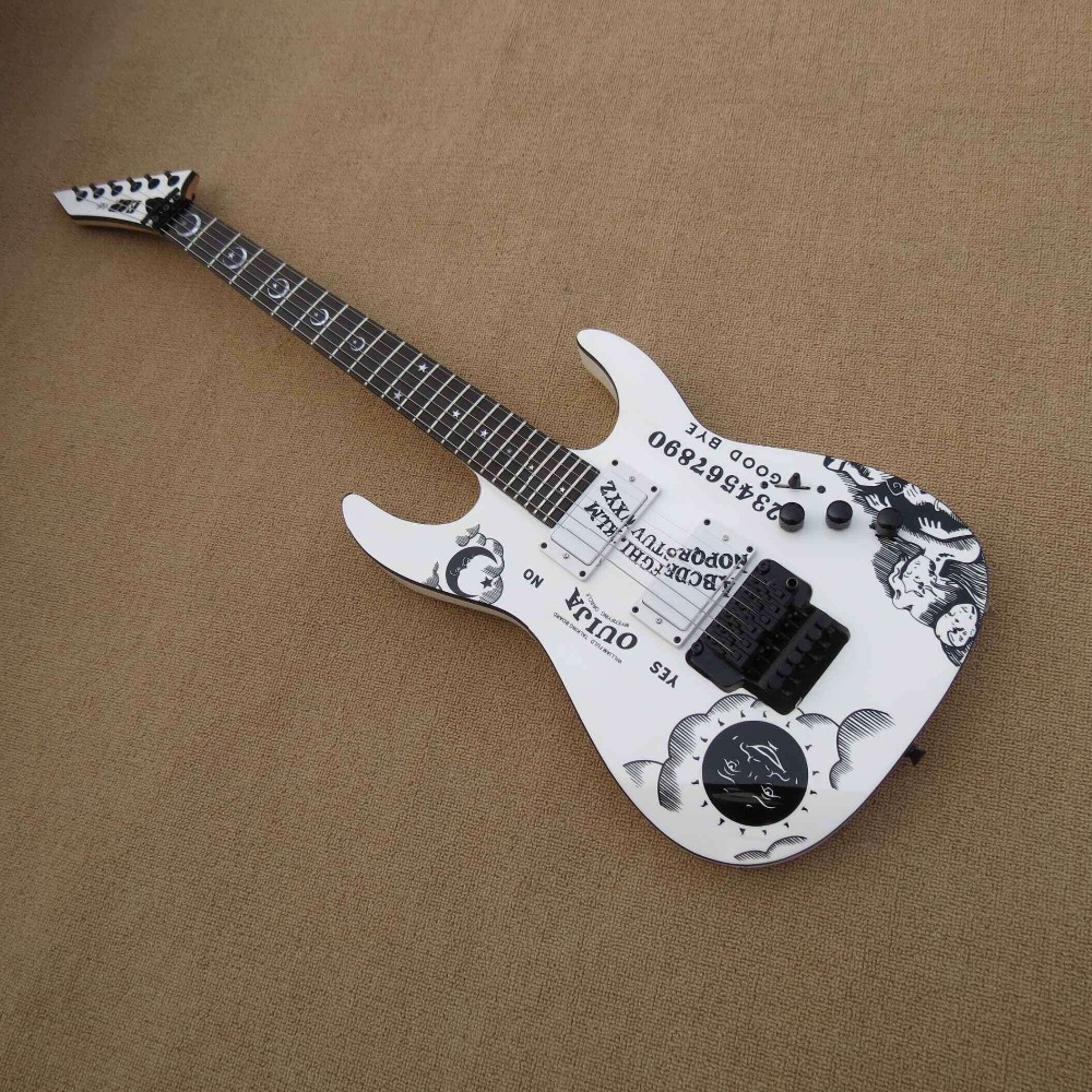 Top quality FDOH-002 white color Personality patterm black hardware Kirk Hammett Ouija Electric Guitar, Free shipping