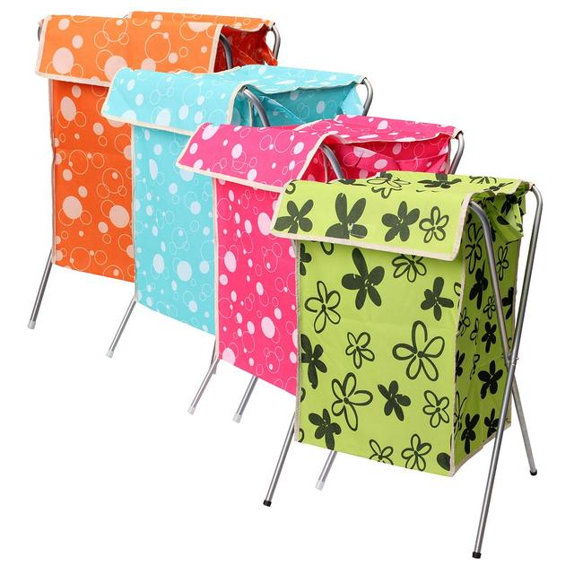 Laundry Storage Basket For Toy Foldable Oxford Fabric Metal Washing Basket  Dirty Clothes Sundries Basket Box