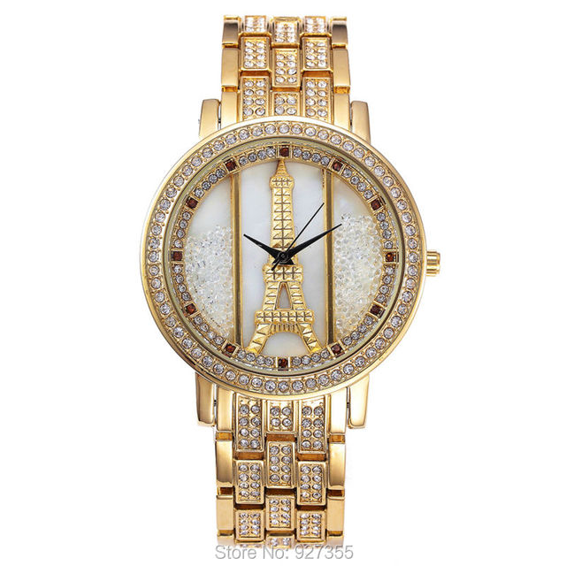 Luxury The Eiffel Tower Watches High Quality Women Full Rhinestone Crystal Quartz Watches Lady Swan Dress Wristwatches Hot Sales