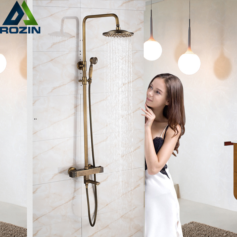 Brass Antique Thermostatic Shower Set Faucet Dual Handle 8 Rain Bath Shower Kit with Handshower Rotate Tub Spout Wall Mounted antique brass rain shower set with bronze basin faucet
