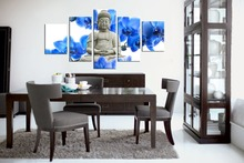Blue Flowers Buddha Statue Painting