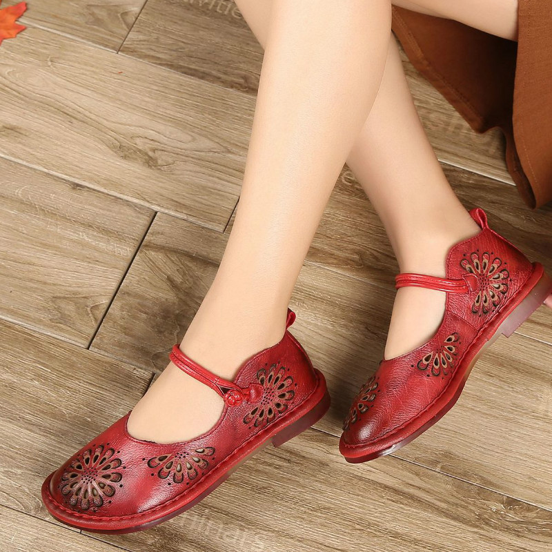 Tyawkiho Genuine Leather Women Flats Embroidery Mary Jane Shoes Summer Hollow Out Flats Heel Sandals Flower Retro Shoes Handmade tyawkiho genuine leather women sandals 7 cm high heel pointed toe summer shoes hollow out retro sandals handmade women shoe 2018