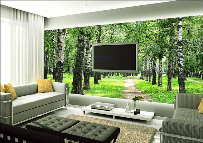 Kustom alam mural dinding, Hijau lanskap hutan yang digunakan di kamar tidur dinding TV KTV tahan air vinyl papel, De Parede