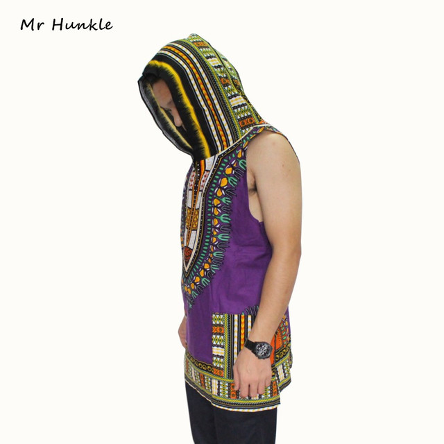 New Fashion Dashiki Hoodies Loose Sleeveless African Print Dashiki Fabric Hood 100% Cotton Fashion Robe Clothing Unisex Kimono