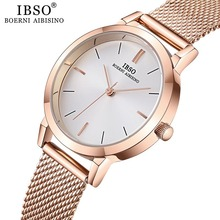 IBSO Womens Quartz Watches Fashion Ultra thin Stainless Steel Mesh Strap Clock Hours Ladies Simple Relogio Masculino