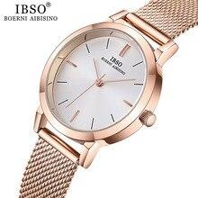 IBSO kadın kuvars saatler moda Ultra ince paslanmaz çelik tel örgü kayış kuvars saat saatleri bayanlar basit Relogio Masculino
