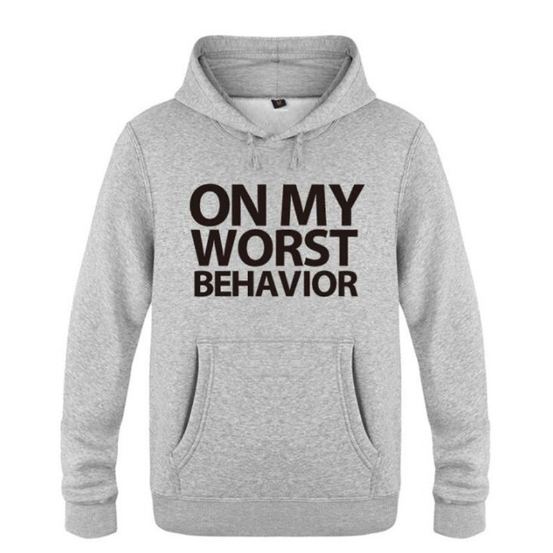 Mens Hoodie Novelty On My Worst Behavior Drake Letter Printed Hoodies Men Fleece Long Sleeve Sweatshirt Skate Hip Hop Pullover
