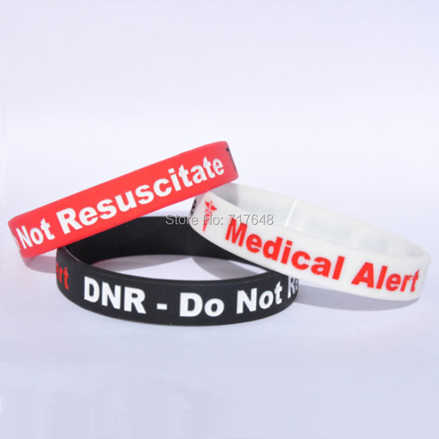 300pcs Dnr Do Not Resuscitate Medical Alert Wristband Silicone Bracelets Free Shipping By Fedex