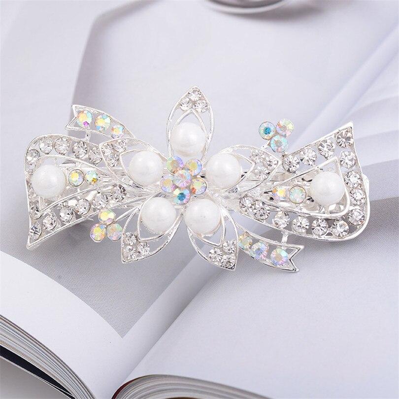 NEW 9cm Silver crystal flower design barrette hair clip wedding hair accessory
