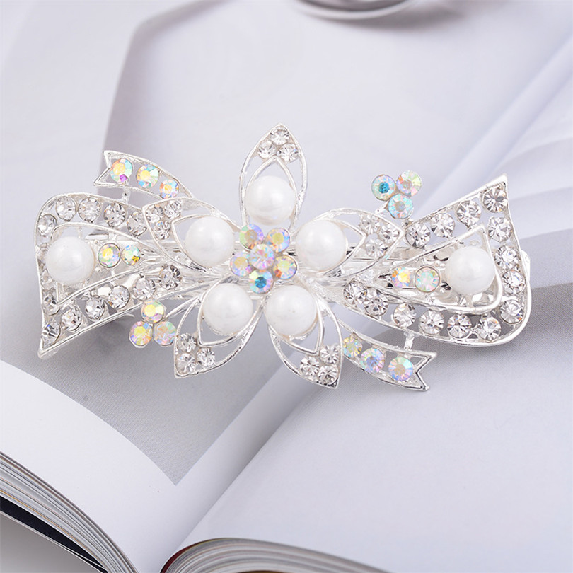 Haimeikang Trendy Bride White Pearl Hairpins Flower Design Rhinestone Hair Clips Wedding Party Women Barrettes Hair Accessories