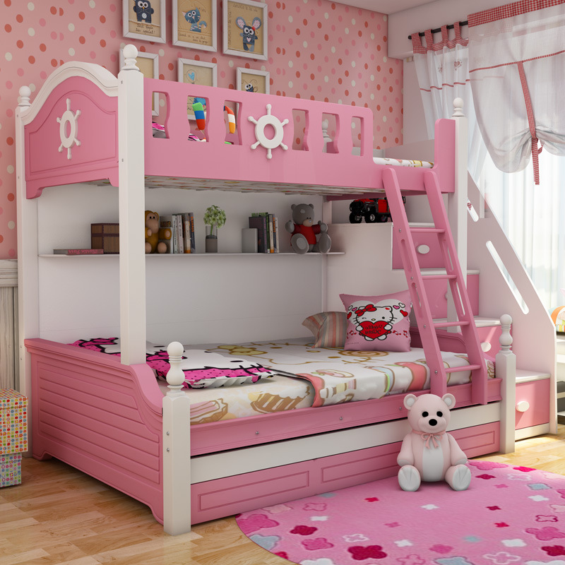 Children's Bunk Bed High And Low Multi-function Ladder Cabinet Bed Solid Wood Children's Bed And Bed Combination