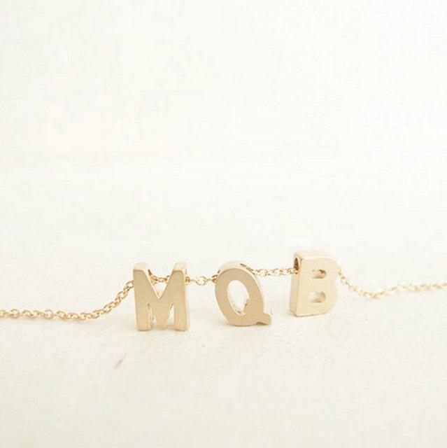 fd3bd78163a6 Collar inicial fina cadena de oro iniciales collar Monogram pareja Ketting  Initialen collares colgante con monograma