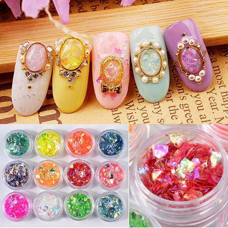 Nails Art & Werkzeuge Strass Nail Art Schalen Candy Papier Glitter Zellophan Pailletten Unregelmäßigen Papier Make-up Pulver Aufkleber Nagel Dekorationen Sf1001
