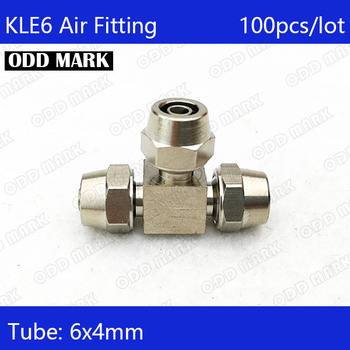 Free shipping 100PCS/LOT Pneumatic Fittings 6mm to6mm to 6mm Hose Pipe Quick Joint Coupling Connectors Nickel Plated Brass  KLE6