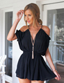 Black White Sexy Solid Backless Cross Deep V neck Ruffles Short Jumpsuit Holiday Beach Rompers Beach Spaghetti Strap Jumpsuit
