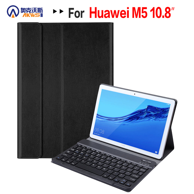 Caso de couro teclado para huawei mediapad m5 10 pro 10.8 CRM AL09 CRM W09 sem fio removível bluetooth capa funda