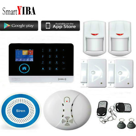 SmartYIB Timing Arm and Disarm WIFI+GSM+SMS Smart Home Security Alarm System with Wireless Siren Horn and Smoke Fire Detector smartyib whole home alarm systerm business security alert with ios