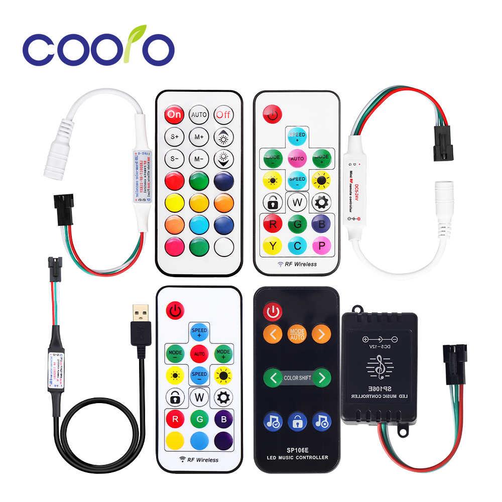 Mini 3 klucz RF 17 klucz 21 LED taśmy pikseli światła kontroler SP110E Bluetooth SP106E SP107E pilot do muzyki dla WS2811 WS2812B