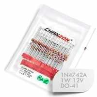 (100 pces) 1n4742a 1n4742 power zener diodo 1 w 12 v do-41 (DO-204AL) axial 1 watt 12 volts em 1n 4742a in4742a
