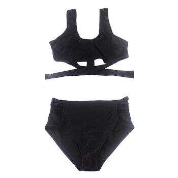 HOT Sexy Padded Beachwear High Waist Bandage Bikini Set Swimwear Swimsuit Black Size:XXLUK 14/16 churrasqueira para fogão