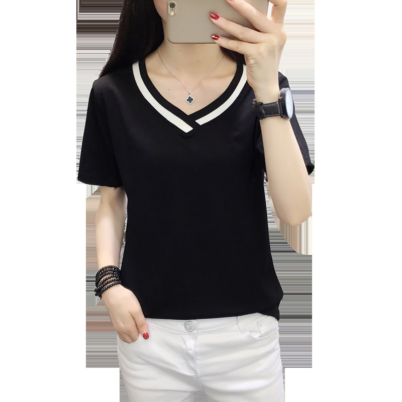 4XL 5XL Plus Size Korean Women's Clothing Fashion Big Size T-shirt Female V neck Short Sleeve Casual obesity Tee Shirt Top Femme 5