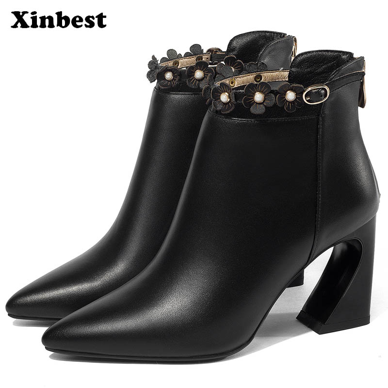 Xinbest 2018 Women Boots Pointed Toe Ankle Boots For Women Genuine Leather Womens Winter Boots Spike Heels Women High Heel Shoes enmayer high quality new pointed toe spike heels ankle boots winter platform boots for women leather motorcycle boots