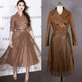 2017 Diseñador de Moda Borlas Largas Mujeres de la Chaqueta de Cuero Delgado Elegante Chaqueta de Gamuza de Alta Calidad Abrigo de Cuero En Cuir Veste Femme