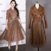 2017 Vogue Designer Long Glands En Cuir Veste Femmes Élégant Mince Veste En Daim de Haute Qualité En Cuir Manteau Veste En Cuir Femme