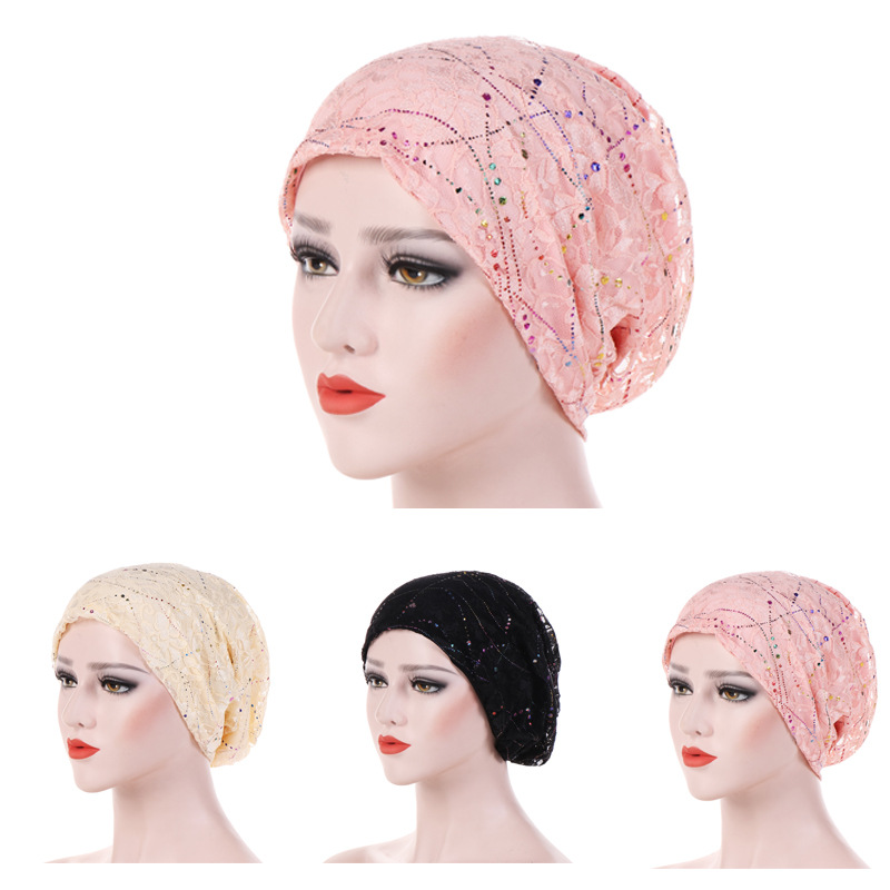 Women Fashion New Lace Scarf Caps Muslim Cap Turban Chemo Beanie Hat Women Hair Accessories