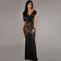 vestido de renda 2016 Formal Summer dresses elegant party gown Cream Crochet Accent Lace sleeveless long evening dress TK340