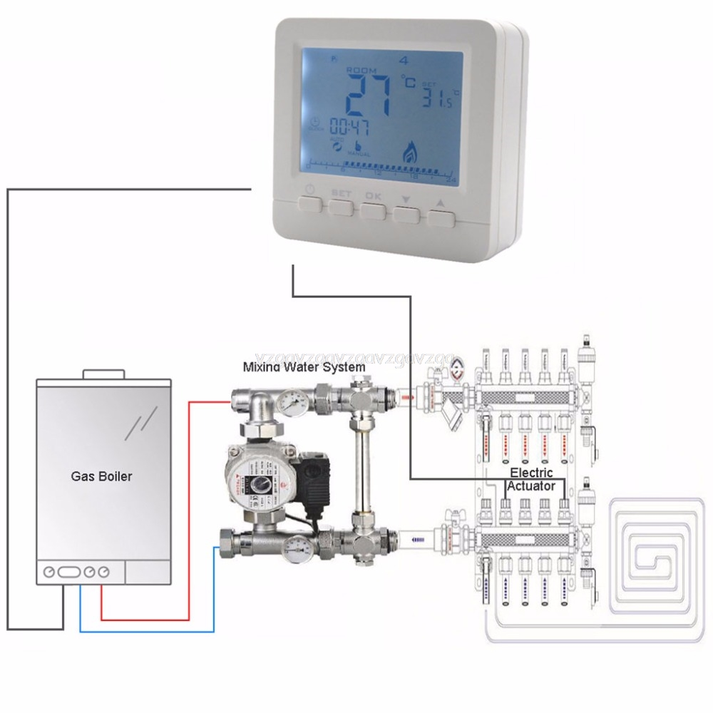 BGL02-5 LCD Temperaturregler Gas Kessel Heizung Temperatur Controller Programmierbare Thermostat für Kombi Kessel Wand Montiert O17