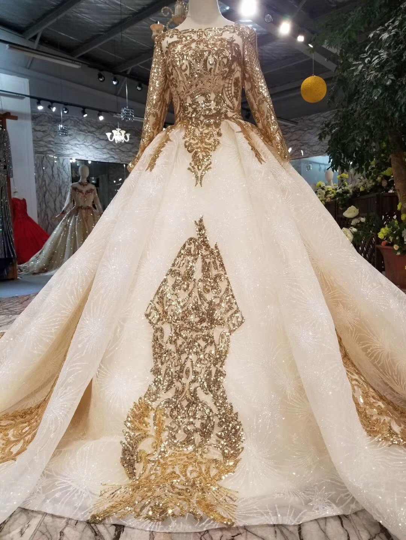 85b3400d ... 2019 New Design Custom Gold Glitter Lace Wedding Dress Elegant O Neck  Long Sleeves Saudi Arabian ...