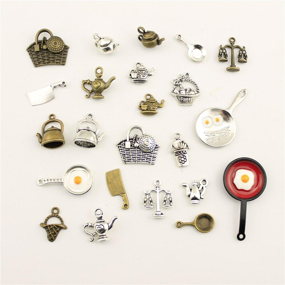 10 pçs jóias feminino utensílios de cozinha pote bule faca cesta charme diy jóias acessórios charme diy acessórios