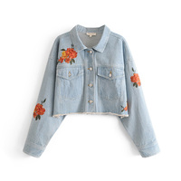 OL 2018 Spring Autumn New Short Sexy Slim Cowboy Jeans Jacket Women Denim Vintage Embroidery