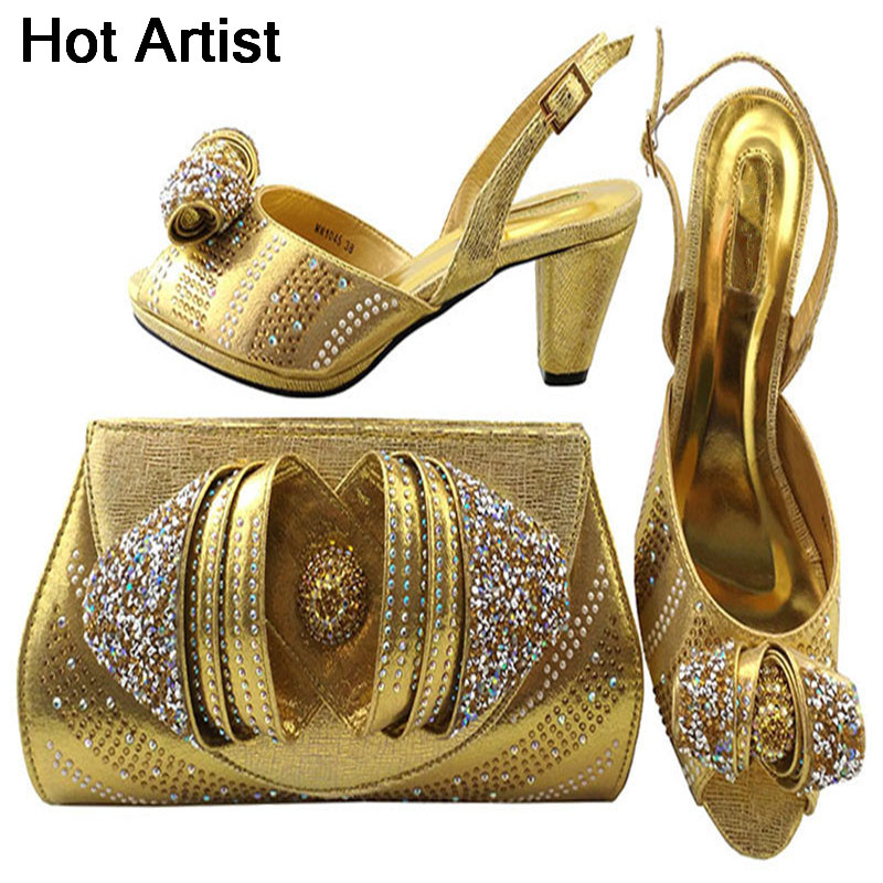 Hot Artist New Gold Color Shoes And Bag Set Decorated With Rhinestone Nigerian Shoes And Bag Set For Women Italian Women MM1045 characteristic floral and butterfly shape lace decorated body jewelry for women