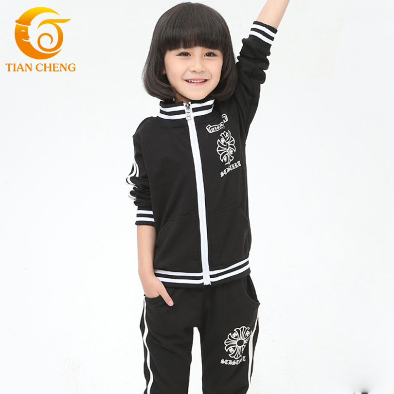 3 9 years school girl clothes black kids clothes girls boys tracksuits clothing sets sport suit