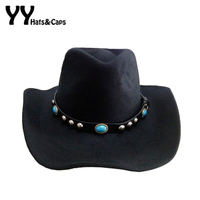 High Quality Wool Fedoras Hats For Men Women Winter Fedora Hat Cowboys Caps With Belt Panama