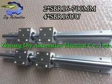 Высокое качество 2 шт. Sbr16-l700mm Линейный Направляющие + 4 шт. SBR16UU Линейное движение Подшипника Блоков (можно вырезать любой длины)