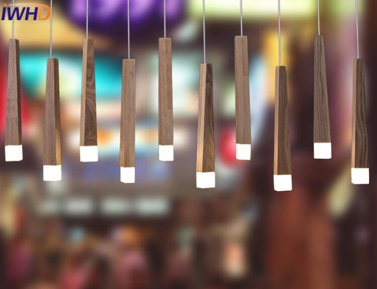IWHD Single Head Led pendant Light Modern Brief Wood Hanging Lights  Lampara Kitchen Living Room Bar Hanglamp Homg Lighting pendant light modern solid wood brief led pendant light front desk euchromatin living room pendant light
