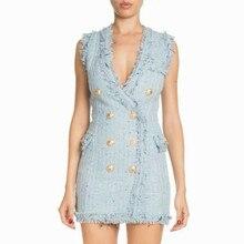 Подиумная Женская трикотажная одежда с кисточками Роскошные двойные пуговицы v-образный вырез осенние женские дизайнерские платья без рукавов на молнии Vestido