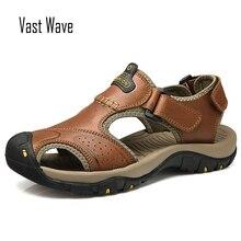 VASTWAVE 2019 Summer Genuine Leather Outdoor Men's Shoes Men Sandals For Male Casual Shoes Water Walking Beach Sandalias Sandal все цены