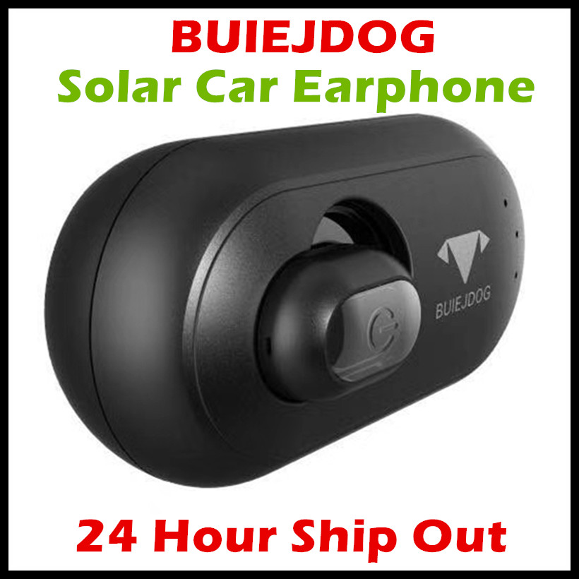 BUIEJDOG Solar Powered Bluetooth Car Earphone Vehicle-Mounted Car Headset Wireless Earbuds Earphone with Permanent Power Supply remax 2 in1 mini bluetooth 4 0 headphones usb car charger dock wireless car headset bluetooth earphone for iphone 7 6s android