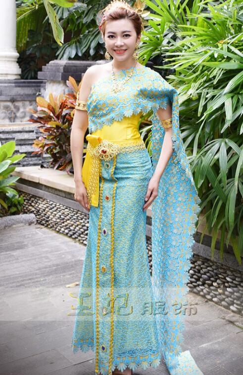 Dai princess Clothing blue Thailand costumes Thai fashion show photo gallery Wear annual meeting Host Outfit Hotel Use Uniform 1