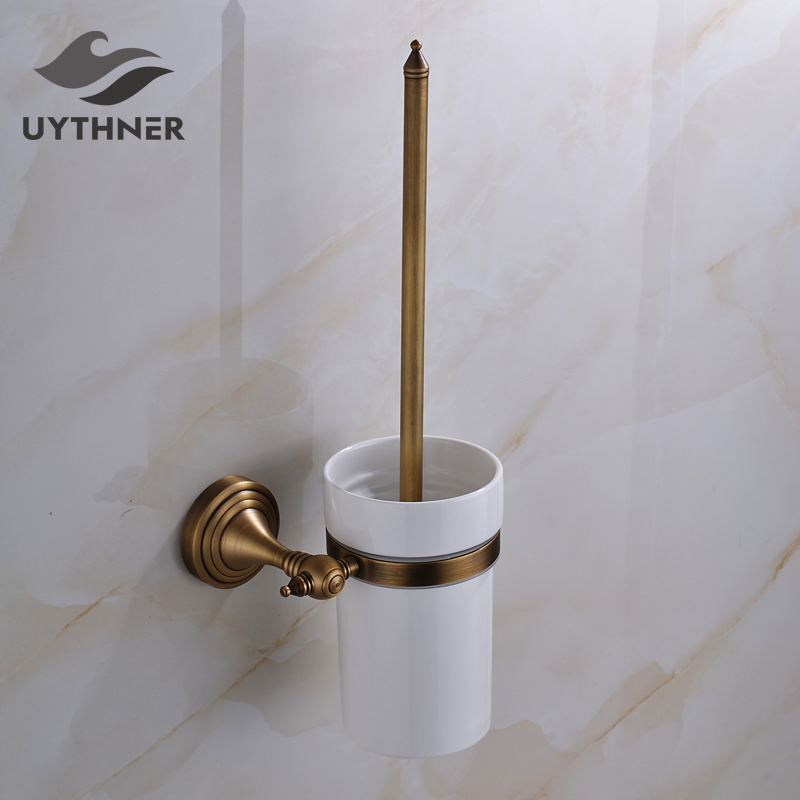 Solid Brass Bathroom Toilet Brush Holder Antique Brass Lavatory Accessories Wall Mounted free shipping ba9105 bathroom accessories brass black bronze toilet paper holder