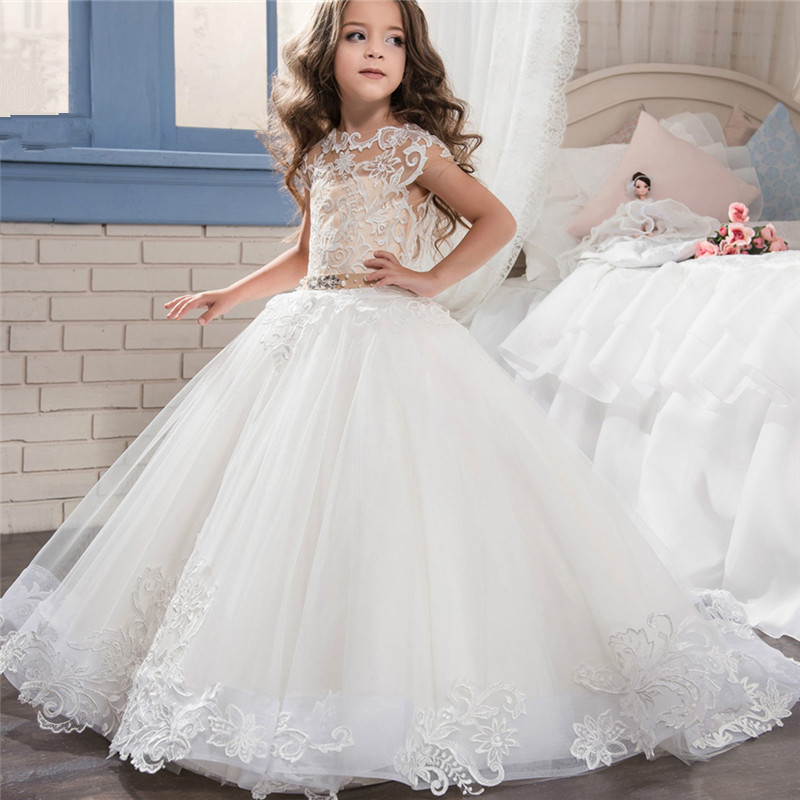Lovely Long Sleeve   Flower     Girl     Dresses   for Weddings 2019 Sheer Neck Lace Ball Gown Little   Girls   First Communion Pageant Gowns