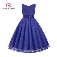 Grace Karin Flower Girl Dresses 2017 Summer Sleeveless O Neck For Wedding Pageant Princess Dress Girls