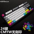 KBDfans  oem profile PBT keycaps blank side top  printed CMYW 24keys for wried usb  Mechanical gaming keyboard  keycap