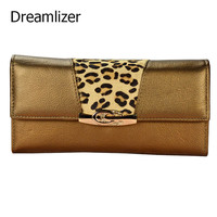 New 2017 Women Leather Wallet Long Trifold Genuine Female Clutch Purse Hasp Horse Hair Decorated Women